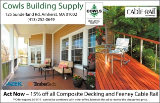 15% OFF All Composite Decking and Feeney Cable Rail