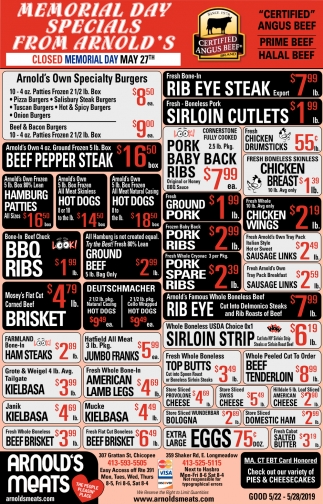 Memorial Day Specials From Arnold's