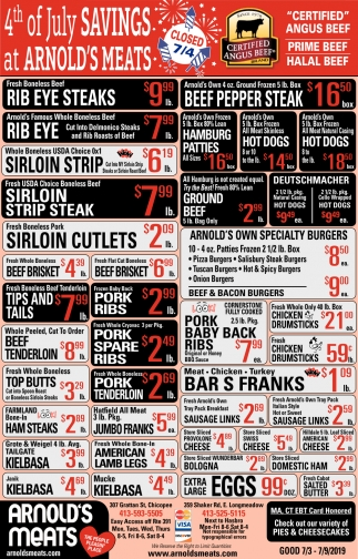 4th of July of Savings at Arnold's Meats