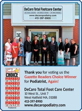 Gazette Readers Choice Winner for Podiatrist, DeCaro Total