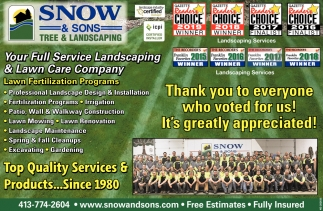 Full Service Landscaping, Snow & Sons Tree & Landscaping