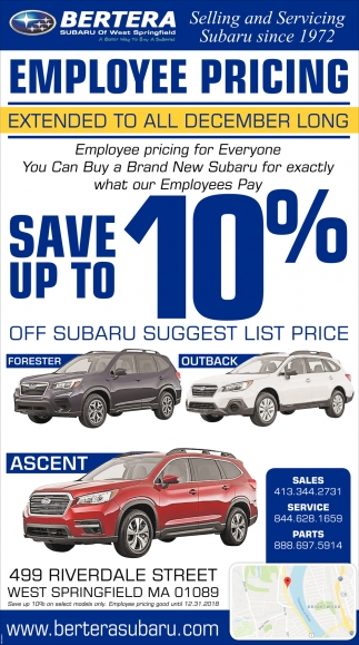 Bertera Subaru West Springfield >> Save Up To 10 Off Bertera Subaru Of West Springfield