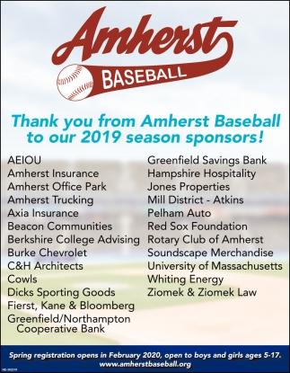 2019 Season Sponsors