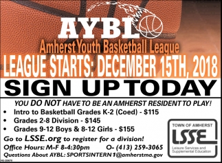 Sign Up Today, AYBL Amherst Youth Basketball League