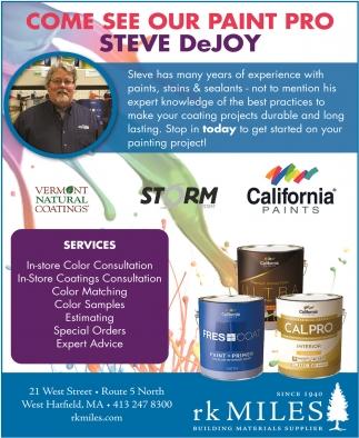 Come See Our Paint Pro Steve DeJoy
