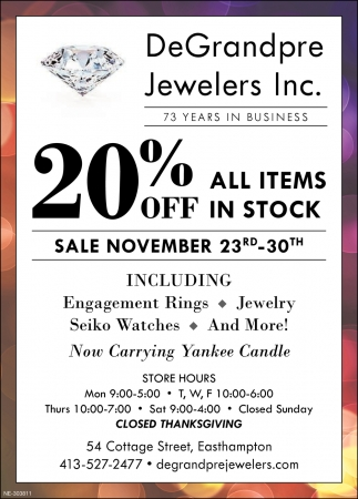 20% OFF All Items in Stock