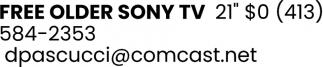 Free Older Sony TV