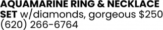 Aquamarine Ring & Necklace Set