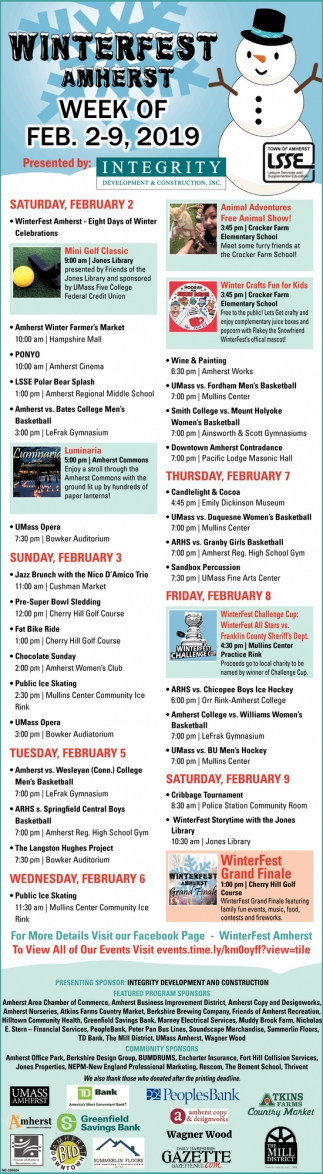 Winterfest Amherst Week of Feb 2-9