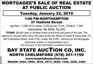 Mortgagee's Sale of Real Estate at Public Auction