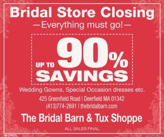 2dbb40f3ec12b Bridal Store Closing, The Bridal Barn & Tux Shoppe